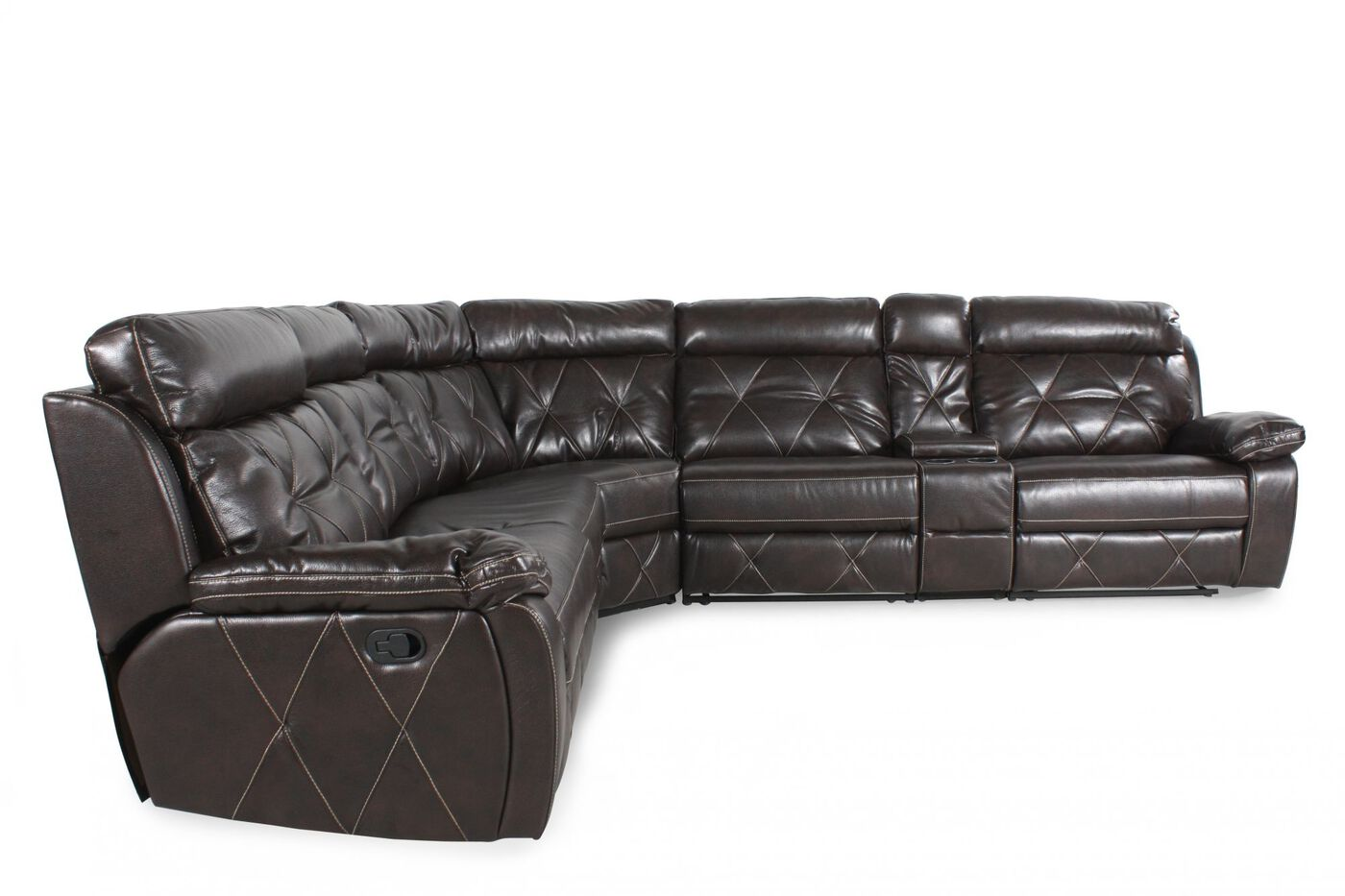 Five Piece Leather 67 Reclining Sectional In Brown Mathis  ~ Five Piece Sectional Sofa