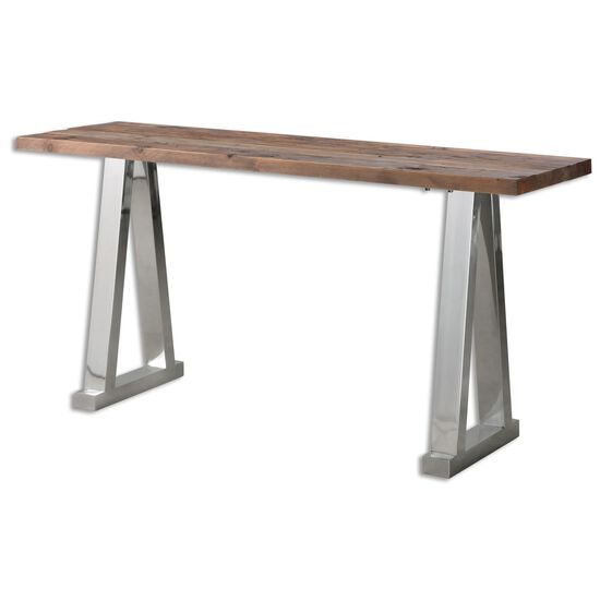 Trestle Base Console Table in Silver