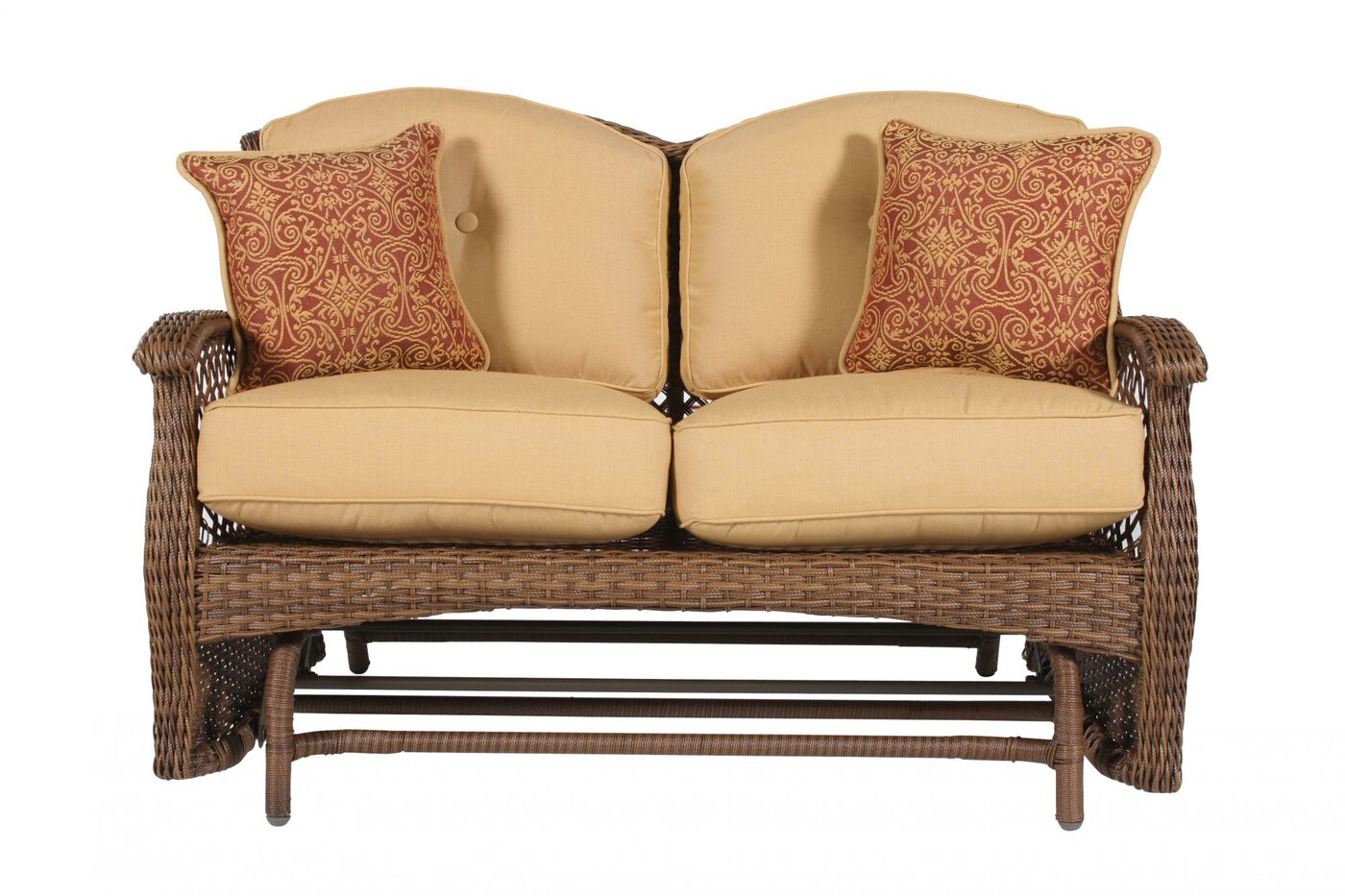 Wickered Aluminum Glider Loveseat In Yellow Mathis Brothers Furniture