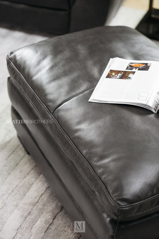 """Casual Leather 26"""" Ottoman in Gray"""