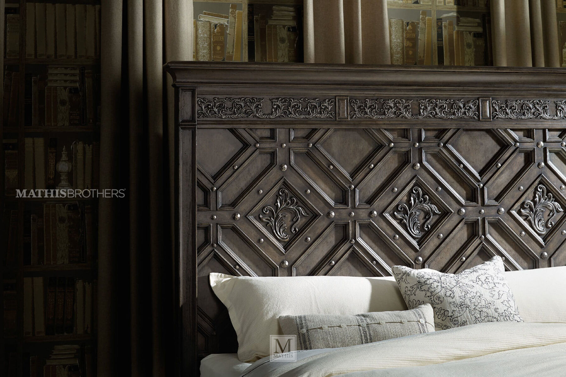 76 Poplar Solid Leaf Carved Panel Bed in Charcoal Mathis Brothers