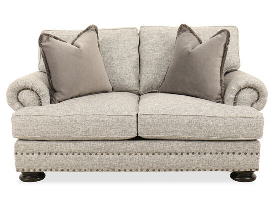 "Nailhead-Accented 71"" Loveseat in Gray"