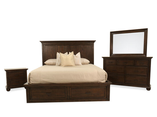 Four-Piece Transitional King Bedroom Suite in Dark Brown