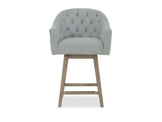 """Casual 38"""" Tufted Bar Stool in Blue"""