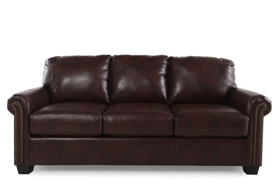 "Rolled Arm Contemporary 83"" Queen Sleeper Sofa in Chocolate"