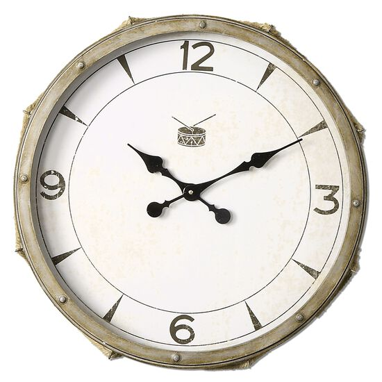 Rope-Accented Snare Clock in Distressed Ivory
