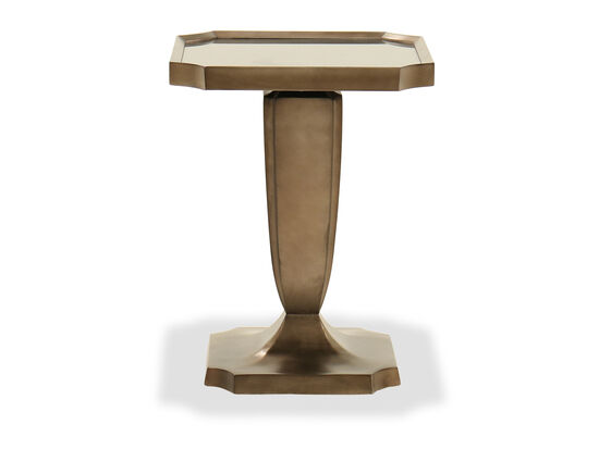 Casual Square Pedestal Lamp Table in Bronze