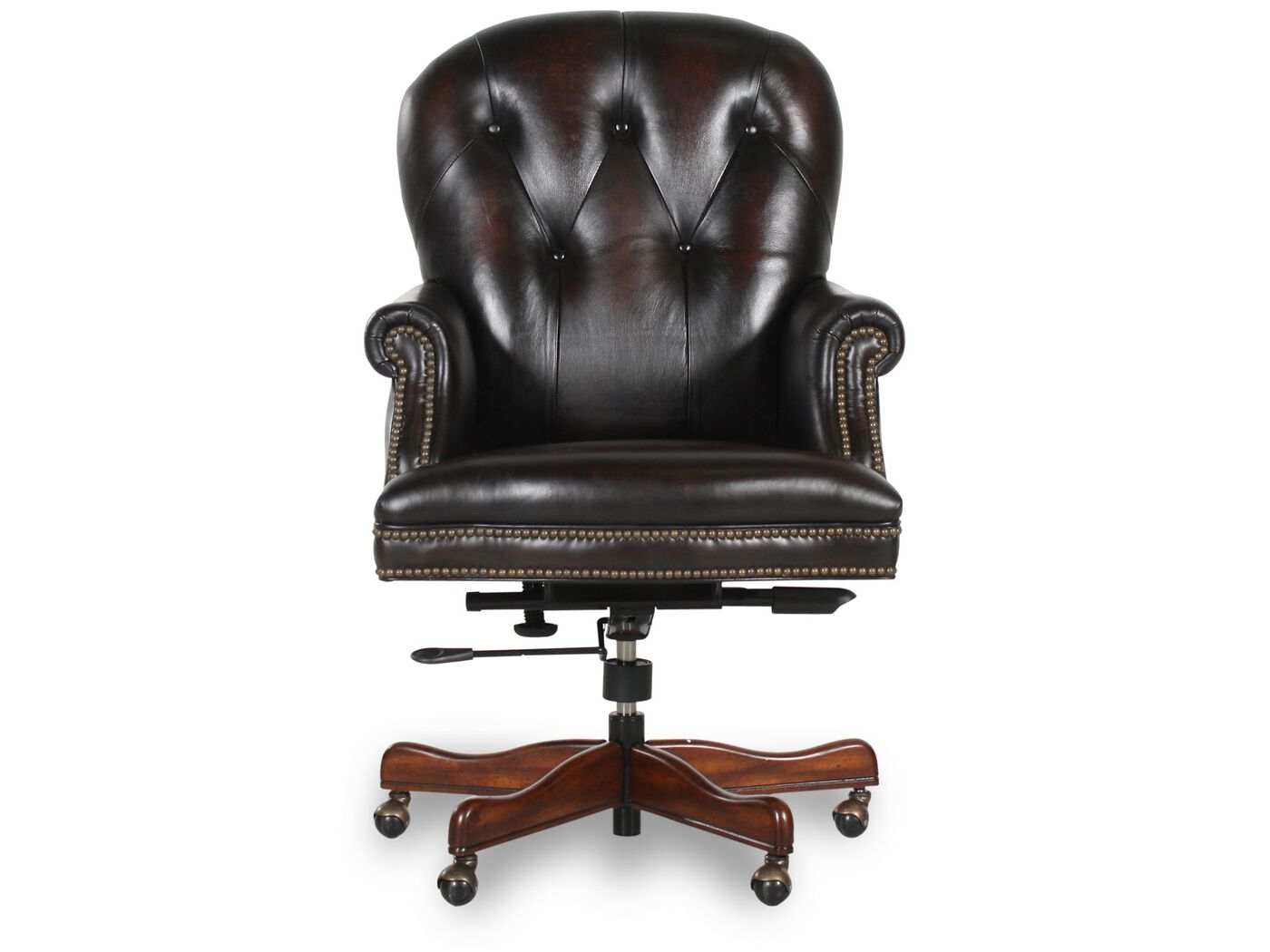 Leather Button Tufted Executive Swivel Tilt Chair In Dark
