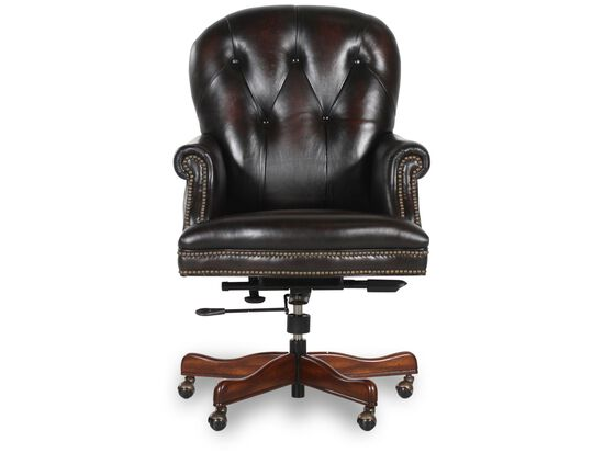 Leather Button-Tufted Executive Swivel Tilt Chair in Dark Brown