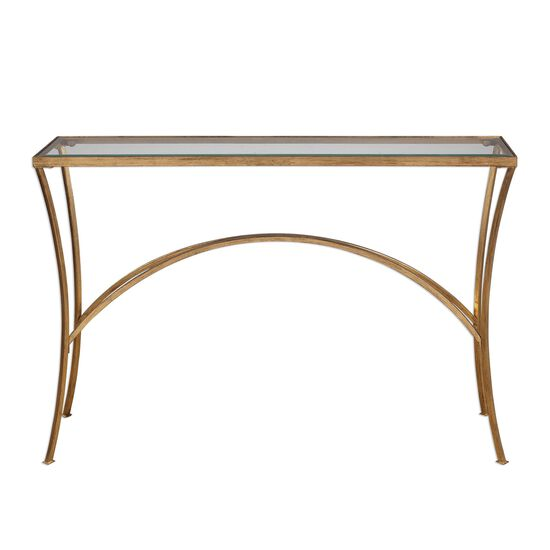 Arched Base Glass Top Console Table in Antique Gold