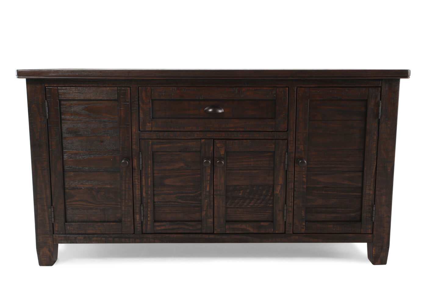 Four door 60 solid pine server in distressed dark pine for Dining room server