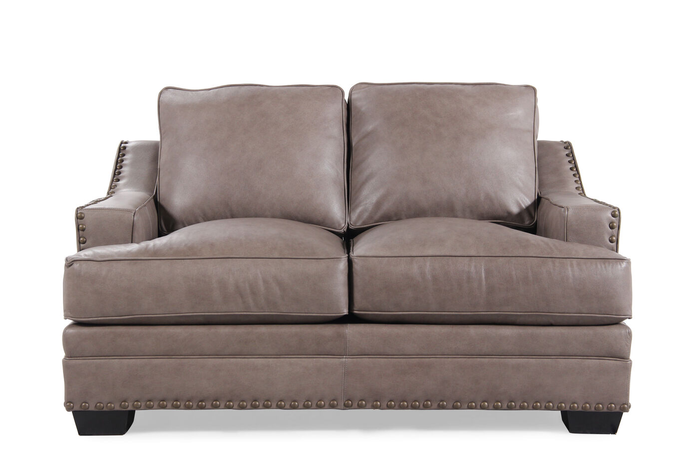 Low Profile Leather 61 Loveseat In Chestnut Brown Mathis Brothers Furniture