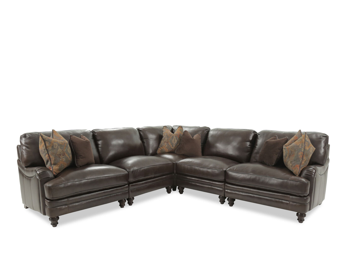 Five Piece Leather Sectional In Brown Mathis Brothers Furniture ~ Five Piece Sectional Sofa