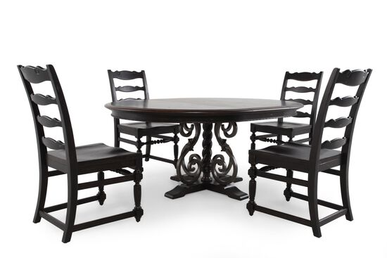 Five-Piece Traditional 54'' to 72'' Dining Set in Macchiato