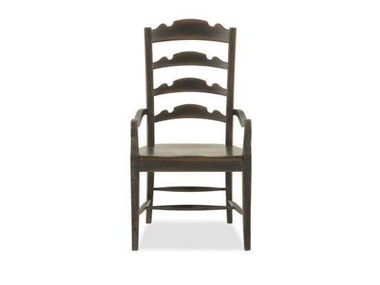"Ladder Back 45"" Arm Chair in Brown"