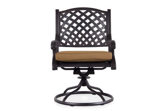 Lattice-Back Swivel Rocker Chair in Cinnamon