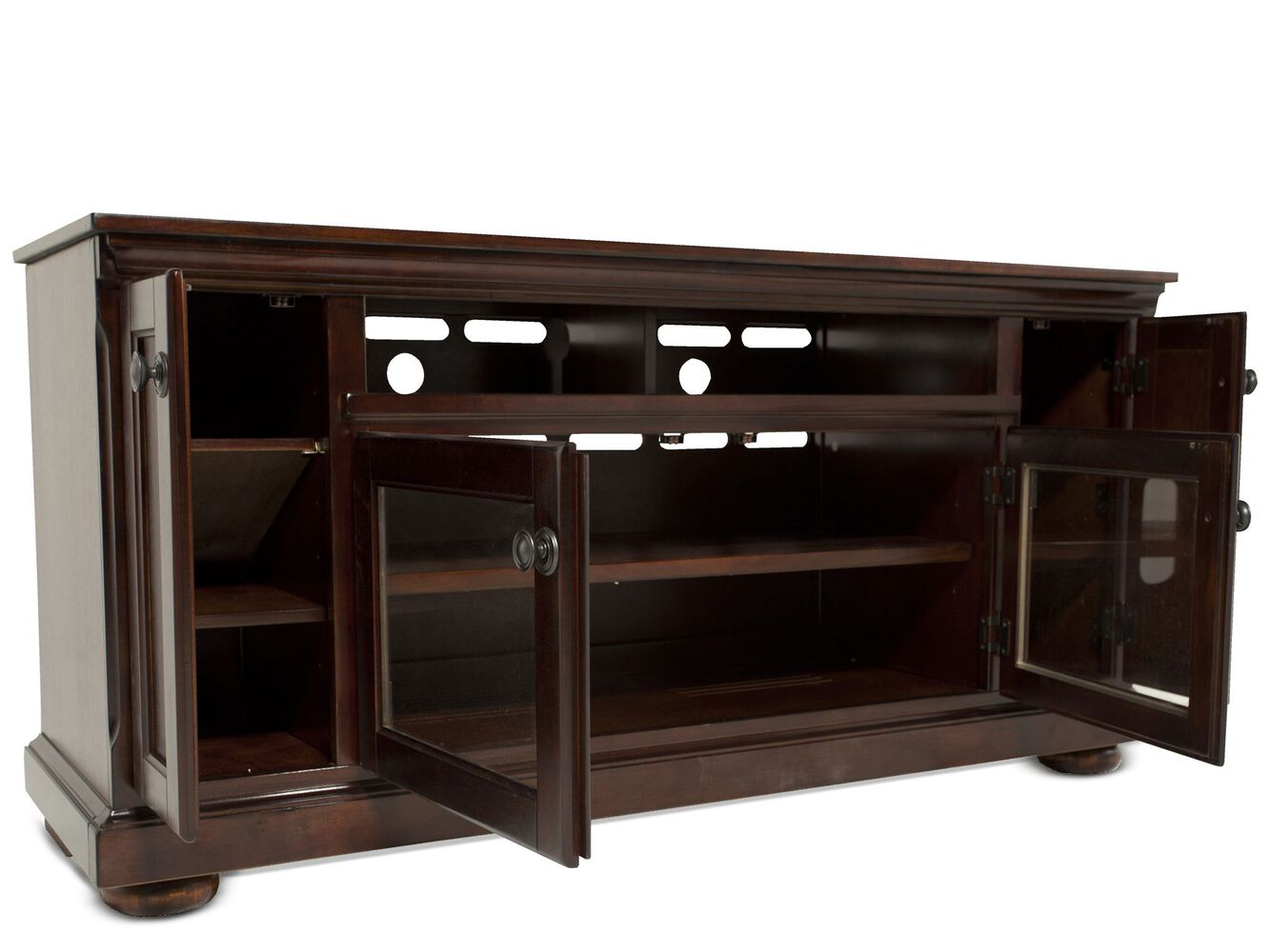 Two Glass Door Traditional Tv Stand In Dark Brown Mathis