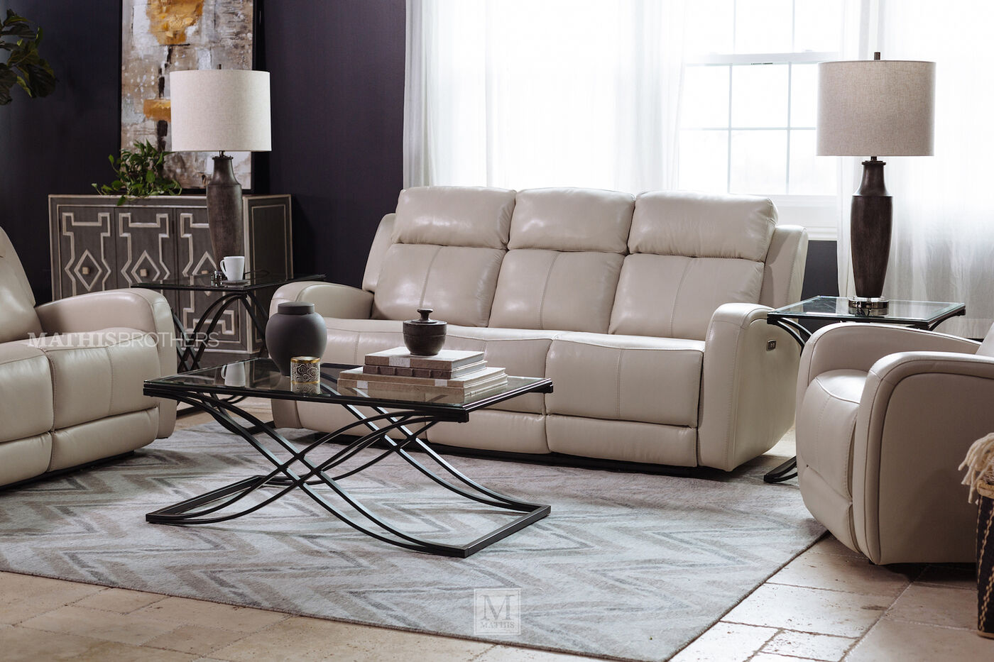 Leather 81 Power Reclining Sofa In Cream Mathis Brothers Furniture