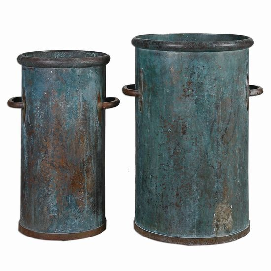 Two-Piece Tarnished Cans in Copper