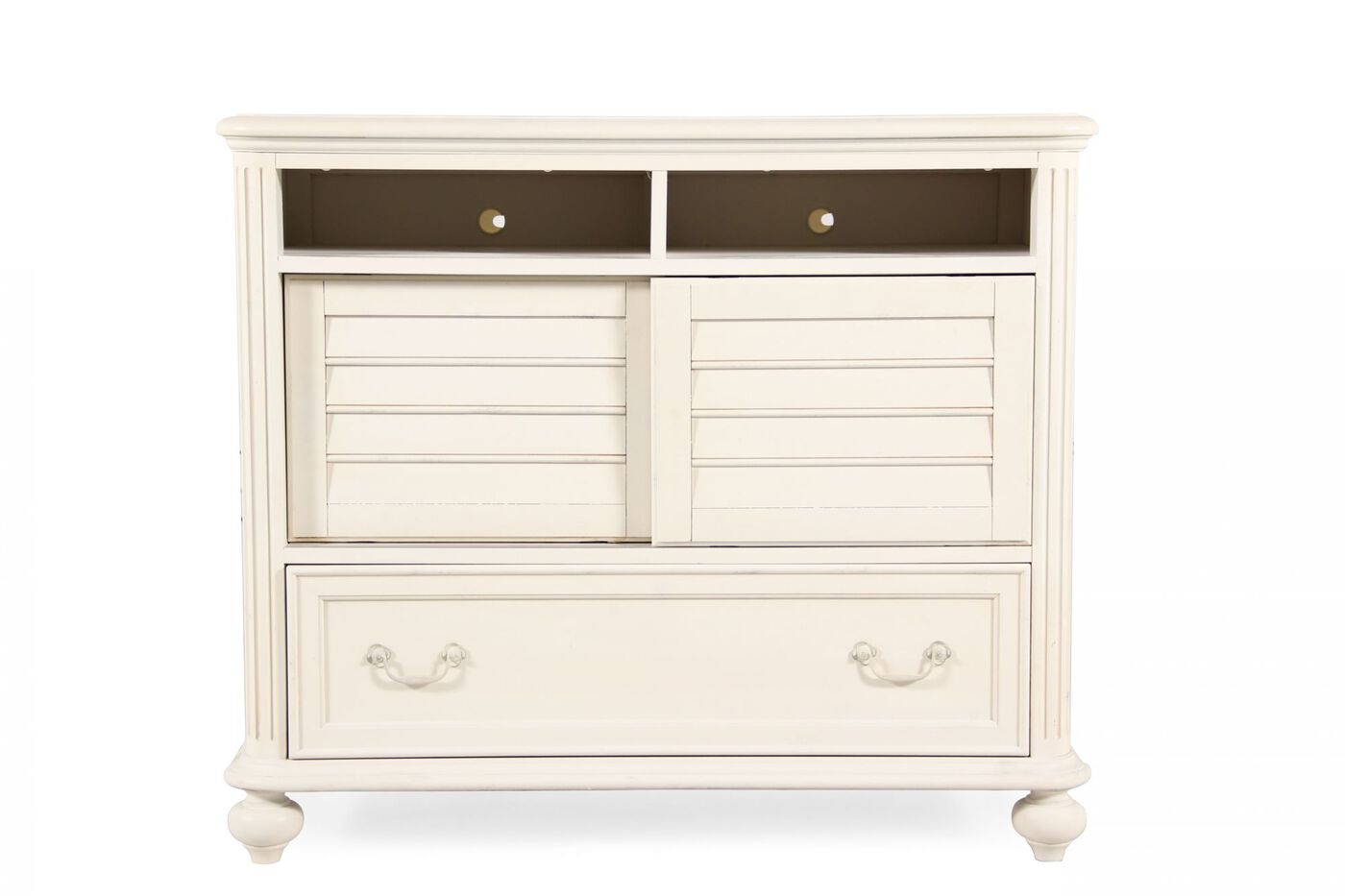 38 contemporary sliding door media chest in white mathis brothers furniture for White media chest for bedroom