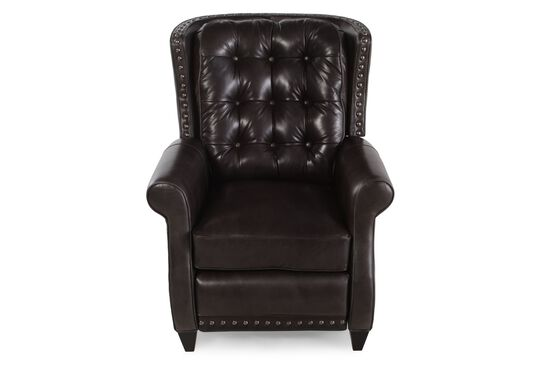 "Button-Tufted 33.5"" Leather Recliner in Dark Brown"