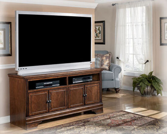 Four-Door Traditional Large TV Stand in Dark Brown