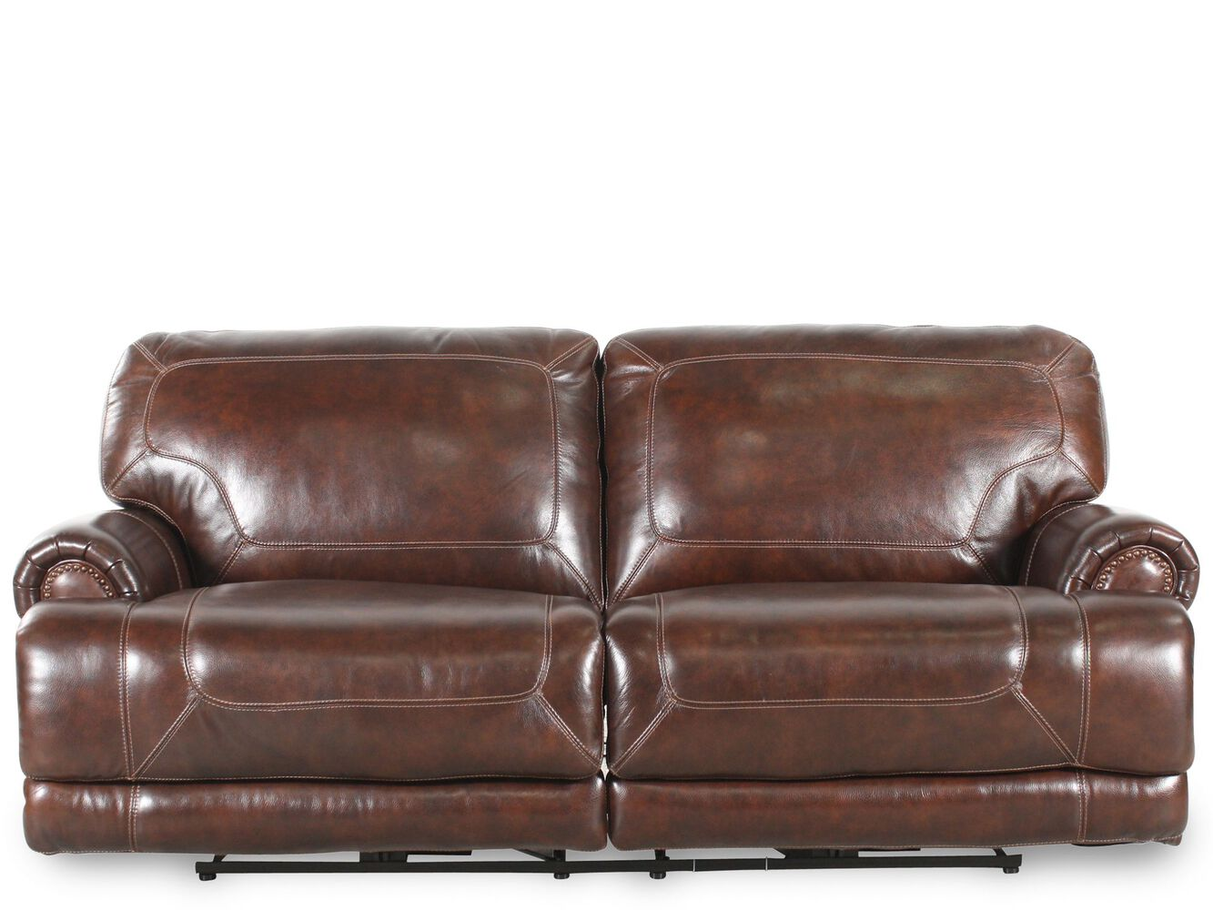 leather reclining 86 sofa in brown mathis brothers. Black Bedroom Furniture Sets. Home Design Ideas