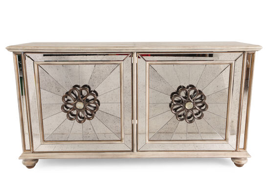 Rosette Carved Traditional Credenza in Gold