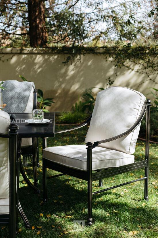 Aluminum Patio Dining Chair in Cream