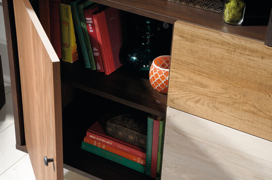 Adjustable Shelf Contemporary Credenzain Spiced Mahogany