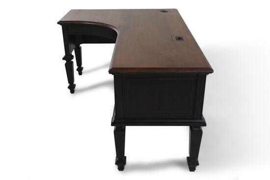 "72"" Contemporary Curved Half Pedestal Desk in Black"