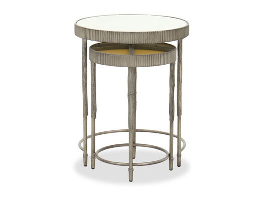 Mirrored Top Contemporary Nesting Tables in Gray