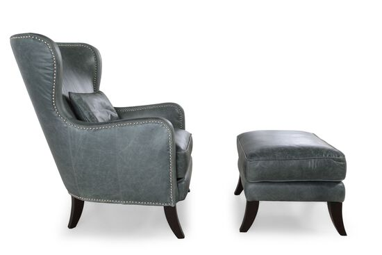 Leather Chair and Ottoman in Teal
