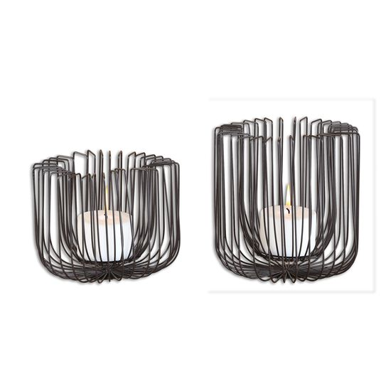 Two-Piece Wire Candle Holder Set in Matte Black