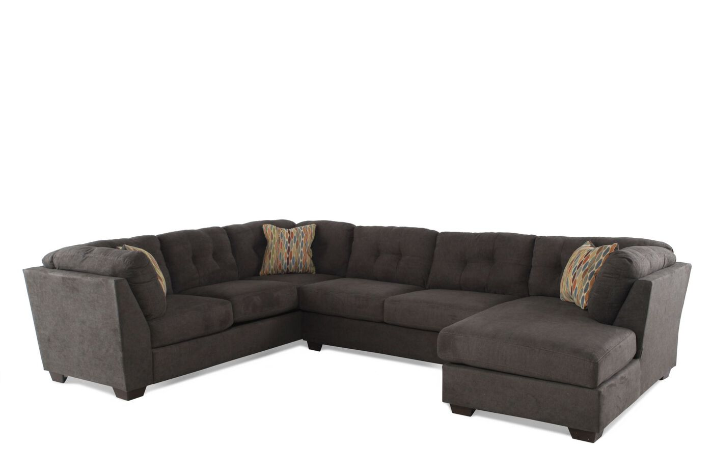 Three-Piece Microfiber Sectional in Chocolate Brown | Mathis ...