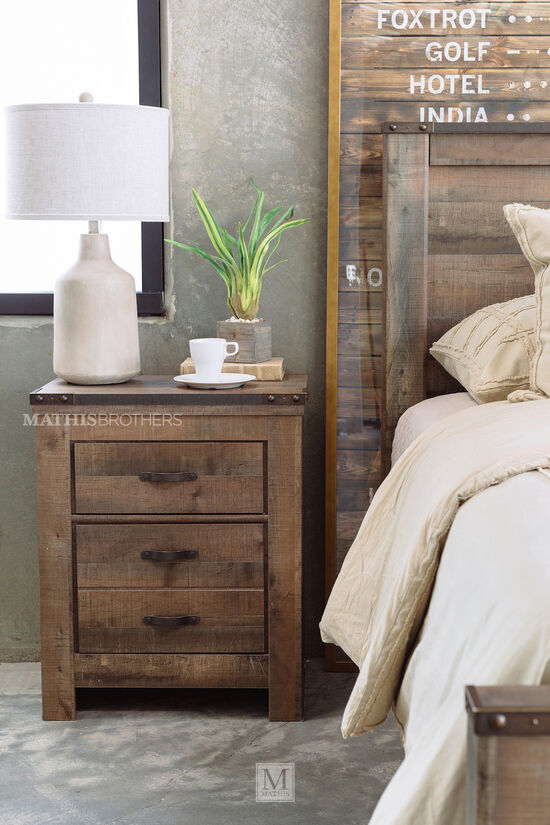 Four-Piece Rustic Farmhouse Bedroom Set in Brown