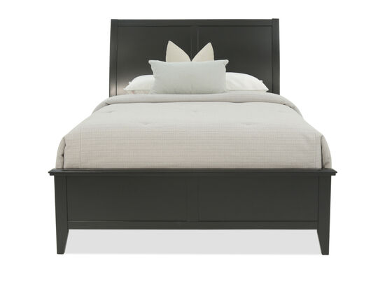 """57"""" Paneled Contemporary Sleigh Bed in Black"""