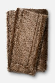 Hand Woven Contemporary Plush Throw in Dark Brown