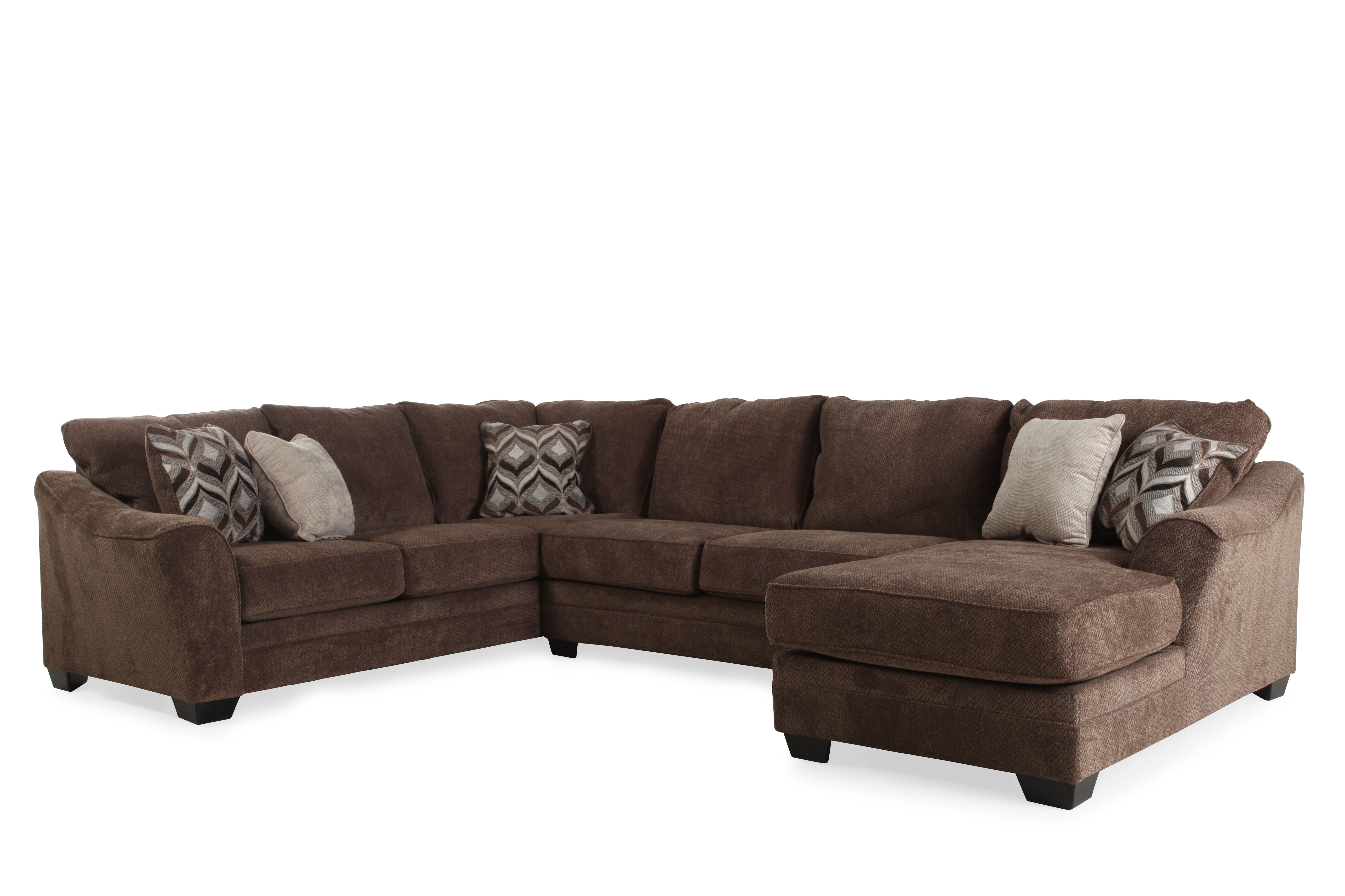 ThreePiece Contemporary 101 Sectional in Dark Brown Mathis
