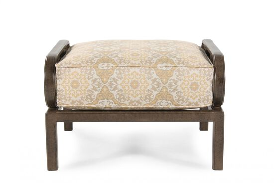 Traditional Floral Patterned Ottomanin Cream