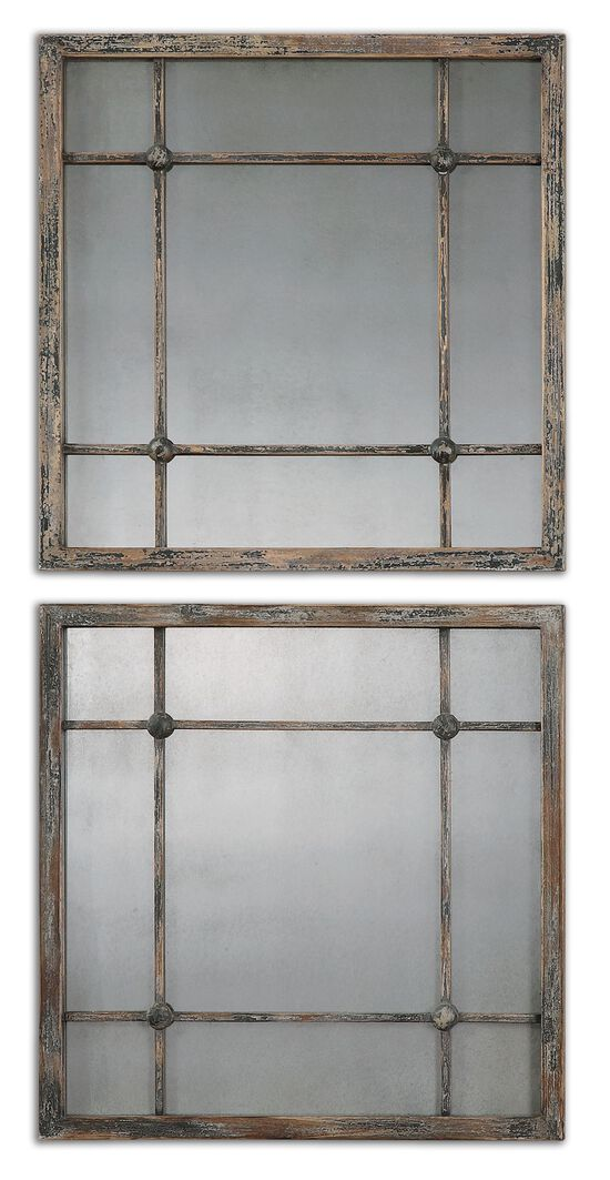 "Two-Piece 19"" Distressed Accent Mirrors in Slate Blue"