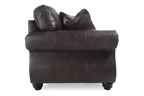 """Nailhead-Trimmed Traditional 66"""" Loveseat in Charcoal"""