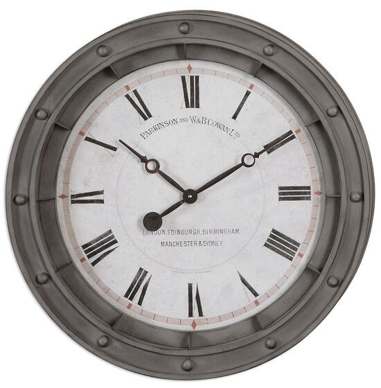 Roman Numeral Round Wall Clock in Rust Gray