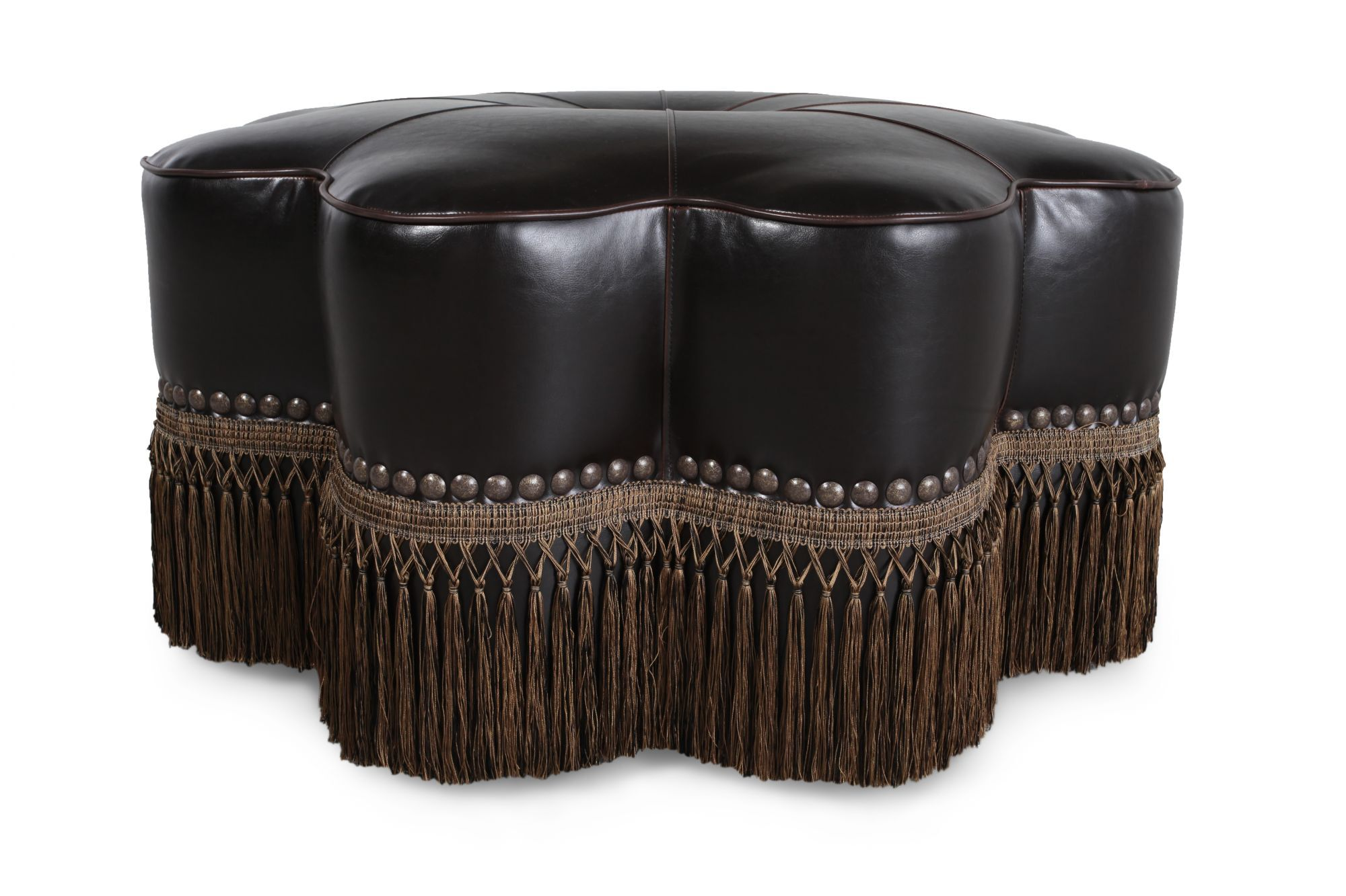 traditional leather ottoman in black