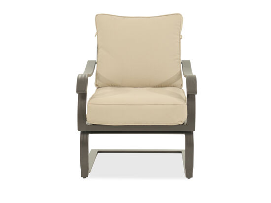 Curved Arm Contemporary Lounge Chair in Beige