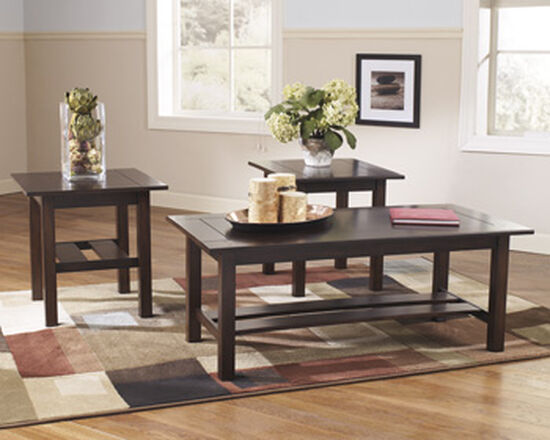 Three-Piece Rectangular Contemporary Accent Table Set in Brown