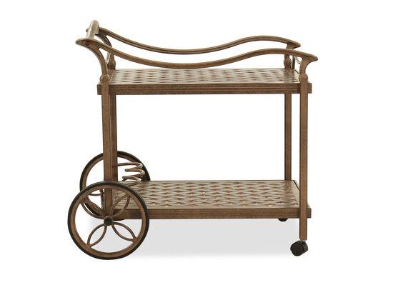 Traditional Aluminum Tea Cart in Brown