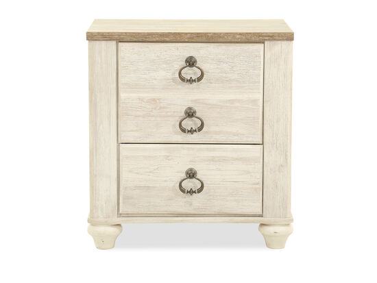 "26"" Casual Weathered Two-Drawer Nightstand in White"