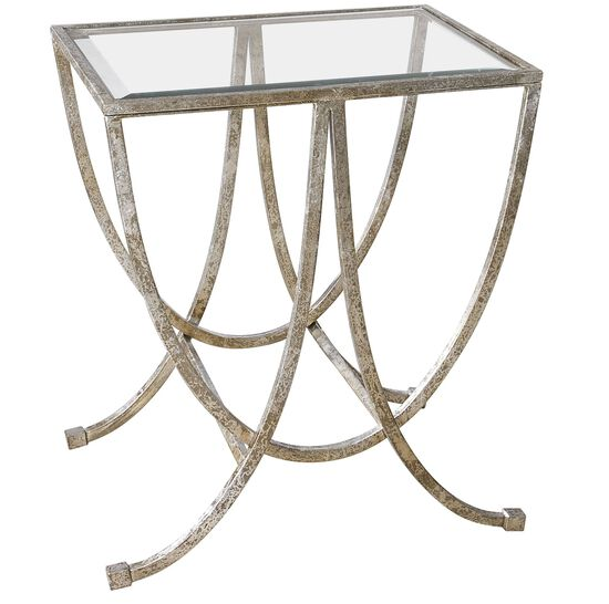 Glass Side Table in Antiqued Silver Leaf