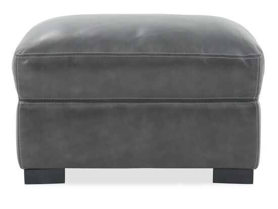 """Traditional 31"""" Leather Ottoman in Gray"""
